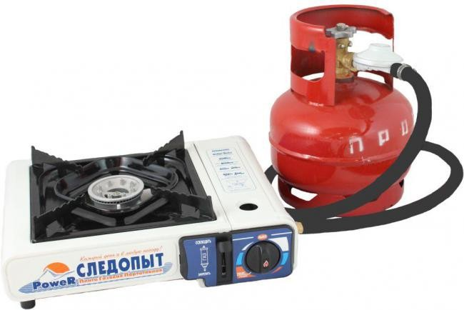 "PorTable gas stove ""Power"" with piezo ignition and 2 types of connection (gas cartriges and LPG) ""Sledopyt"" PF-GST-M01"