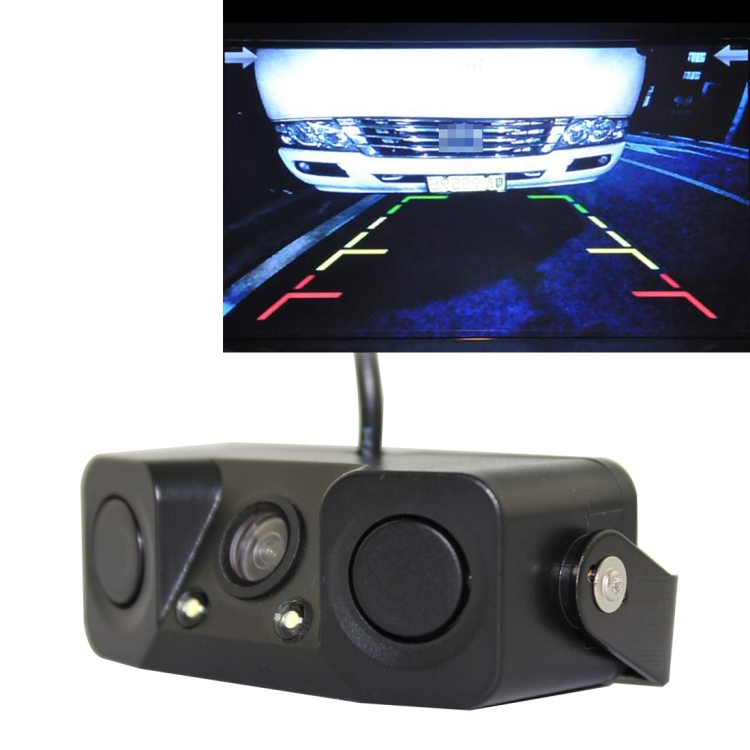 PZ-451 Car Camera LED Lights Parking Sensor 3 in 1 Night Vision backup Camera Monitor with Buzzer DC 12V wide view