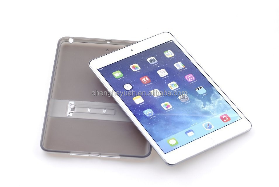 2015 new TPU+ PC transparent display stand phone case for ipad mini