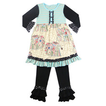 Fall outfit wholesale kids girl knit cotton elephant printed girl dress baby ruffle legging children boutique winter clothes