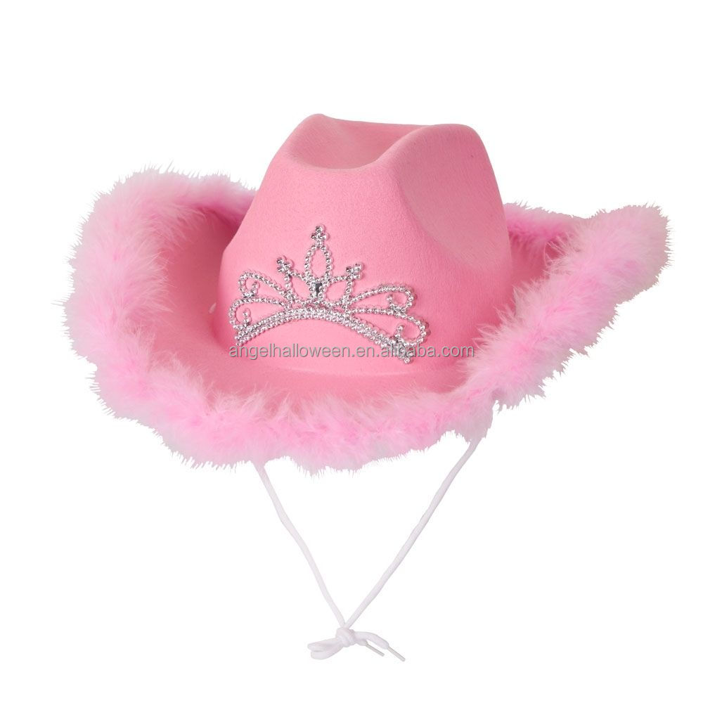 Top Sale Pink Cute Good Price Halloween Cosplay Western Cowboy Cap Felt Party Carnival Hat NC4045