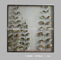 BC-12-A132 Abstract Metal Embossing Leaves paintings