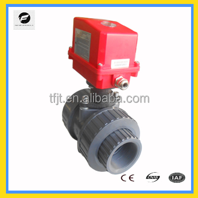 50mm pvc motorized AC220V /50Hzball valve for sea water, water treatment medical application