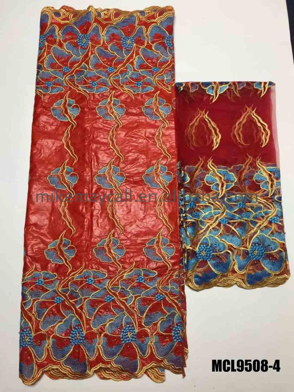 5 yard jacquard fabric embroidery bazin dresses for nigerian riche and organza blouse set