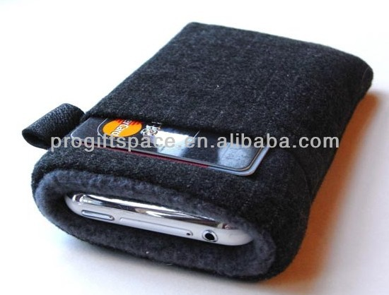 new hot sale fashion handmade men's design polyester felt soft case felt mobile phone pouch made in China