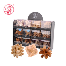 customized 3d wooden iq puzzle DIY brain teaser for adults and kids