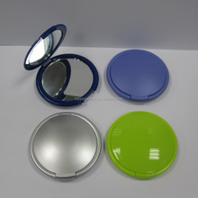 plastic women round double magnifier pocket cosmetic mirror