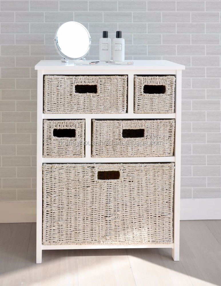 Online shopping french style 5 storage wicker baskets unit