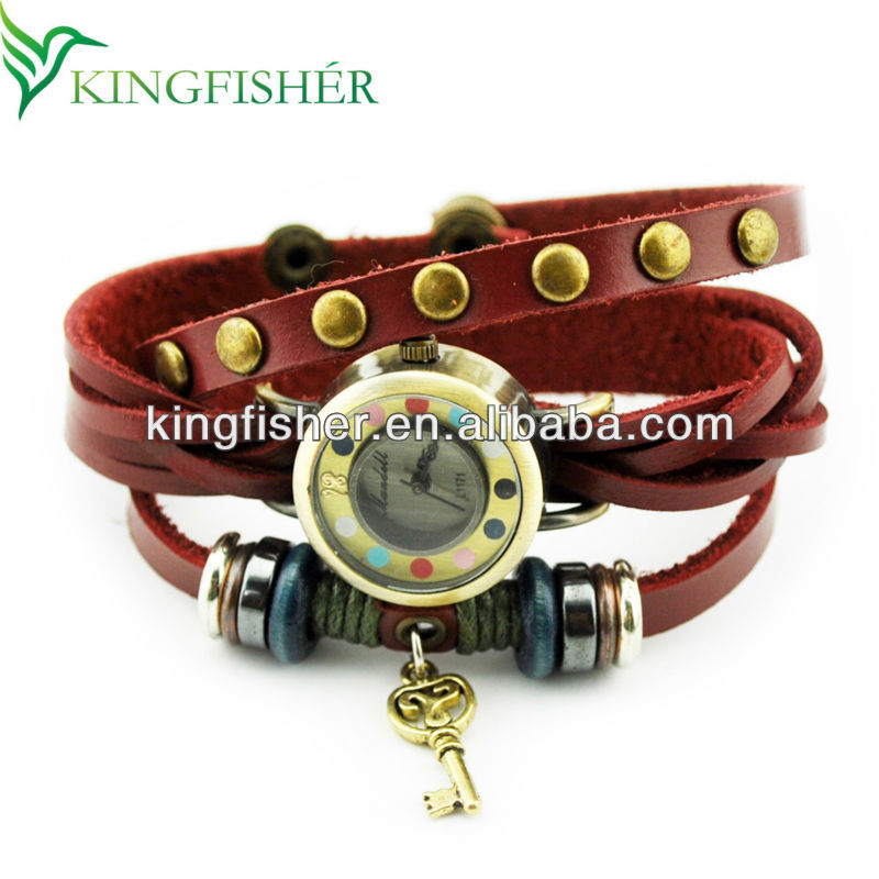 2014 Vogue fashion leather wrap wrist watch ladies wholesale!! High quality Leather bracelet watch vintage lady watch!!