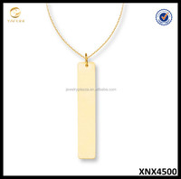 14K Gold Plated Sterling Silver Bar Necklace Plain Silver Necklace Jewelry