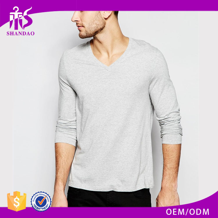 2016 Guangzhou 160g 100%Cotton good quality loose V-neck long sleeve shirts tee shirts