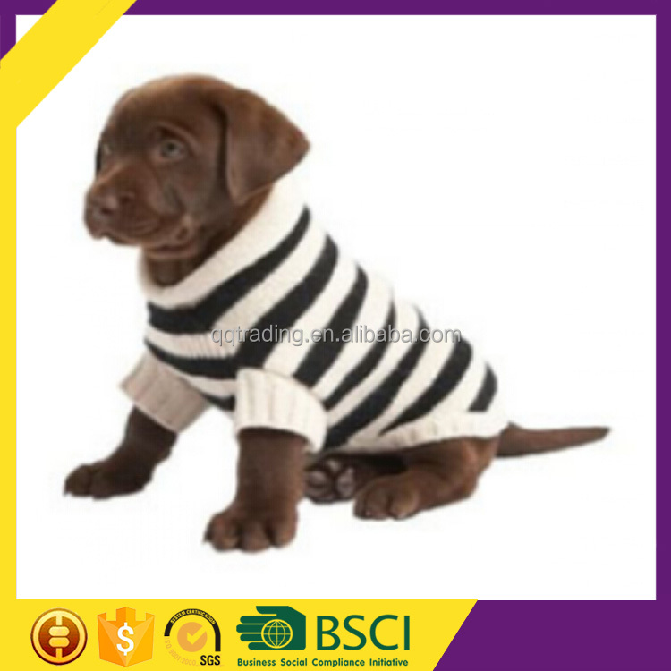 Classical Black White Winter Cheap Factory Bulk Low MOQ Striped Dog Clothes