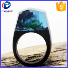 2017 New Hot Exquisite Secret Wood Rings With Miniature Landscapes In Resin Handmade Wood Ring