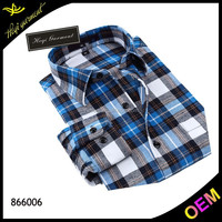 Wholesale padded flannel shirt with white&blue
