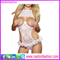 hot sexy see through white halter open cup babydoll lingeries pictures for womens