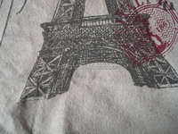 London Bridge Pattern Eiffel Tower Postmark Vintage Look Upholstery Cotton Linen Print Fabric