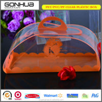 Hot sell cheap new products 2014 suitcase design promotional gift clear plastic cupcake boxes packaging with hinged lid