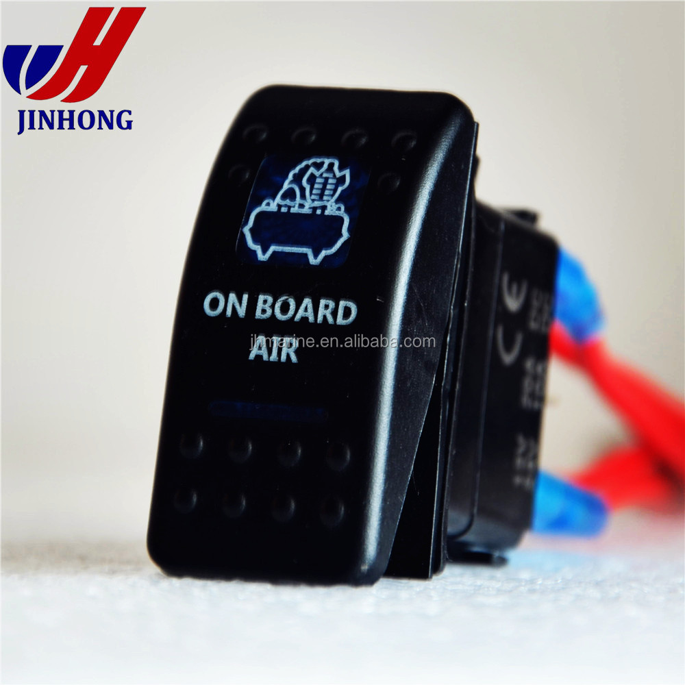 12V illuminated etched logo Rocker Switch 3Pin 2 bay marine/Car/Motorcycle waterproof Carling Rocker Switch