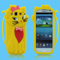 Cute animal silicone 3d case for samsung galaxy s3 i9300