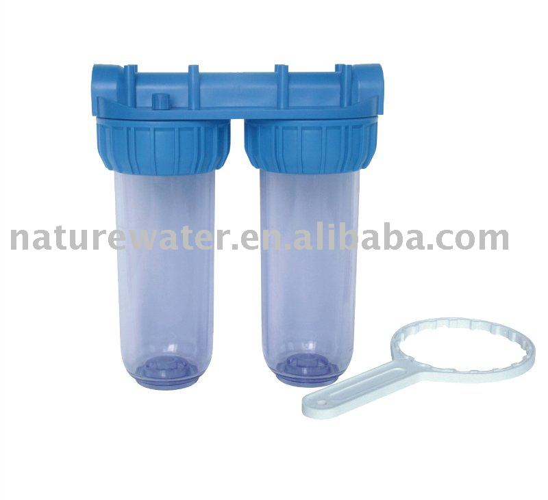 Double water filter Clear housing