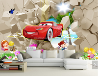 3D wallpaper for kids room cartoon cars wall mural hd wallpaper for interior decoration
