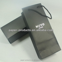 Full Black Packing Wine Box Paper Bag With White Logo Printed