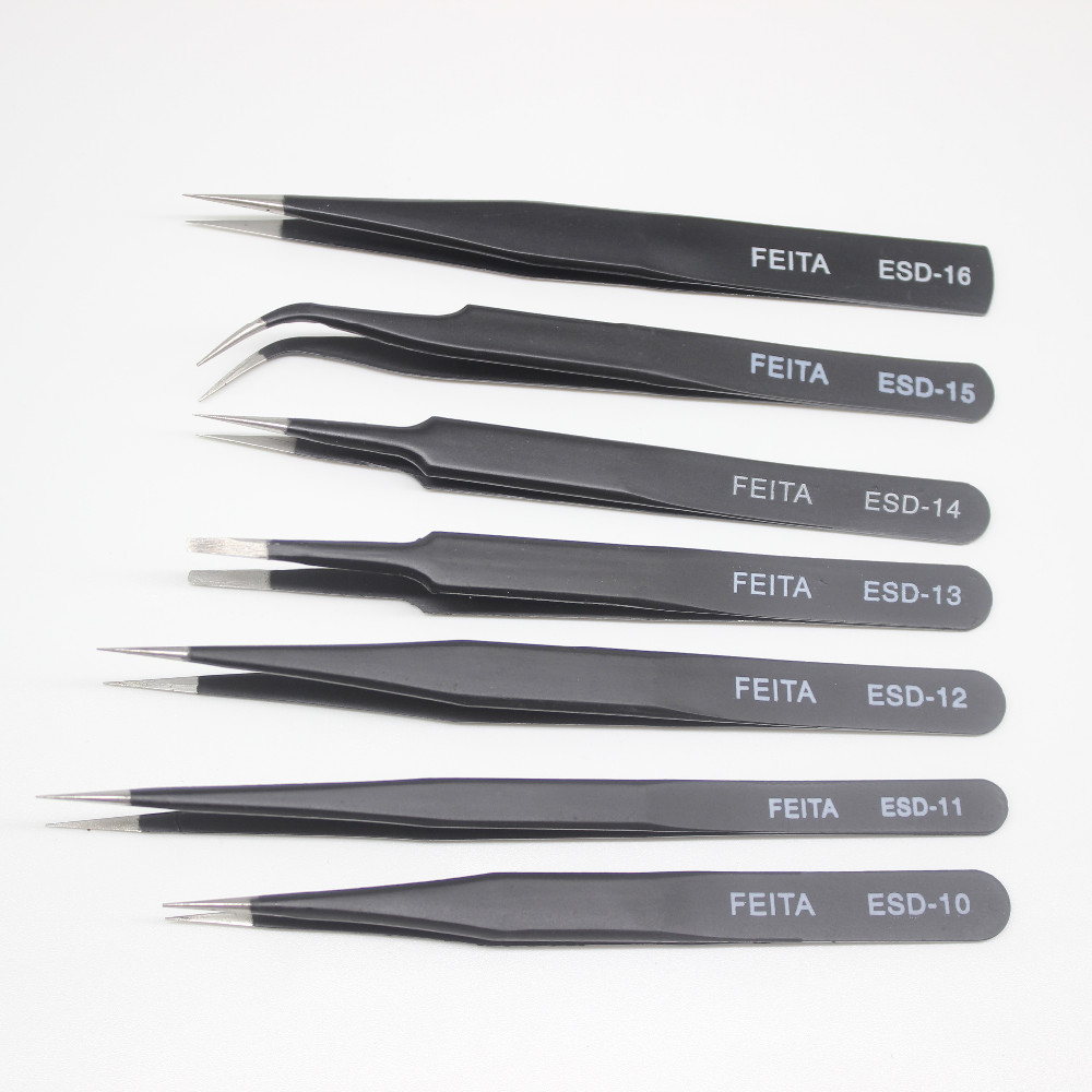 Wholesalers ESD Stainless Steel Tweezers Hand Tool for Electronics