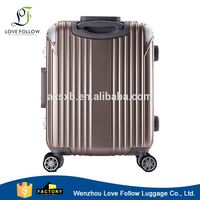 Hot sale quality assured strong aluminum frame abs pc trolley luggage