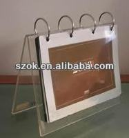 2014 promotional different shapes acrylic desk/tabletop calendar