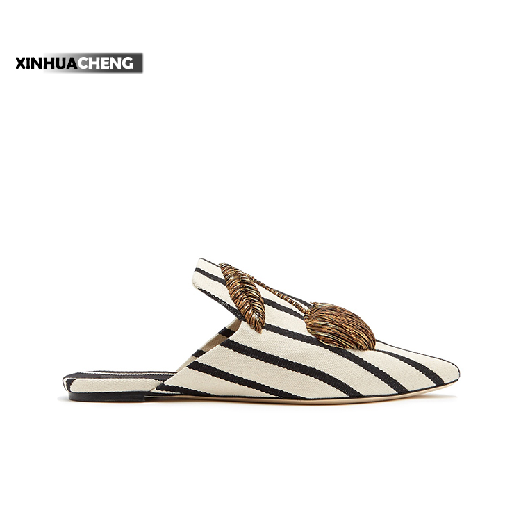 new model latest striped point toe flats women sandal slippers shoes