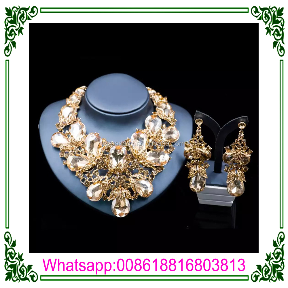 Gold Plated Fashion Jewelry Sets Glass and Rhinestone Jewelry Set for Wedding