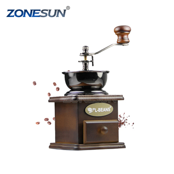 ZONESUN hand antique coffee grinder Manual Stainless Steel Retro Coffee Spice Mill With High-quality PorcelainMovement
