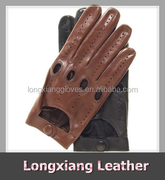 Men's Casual Brown Leather Car Driving Gloves Open Back with Air Holes