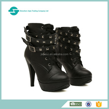 PU upper lace up buckle straps high heel rubber sole mature black women boots