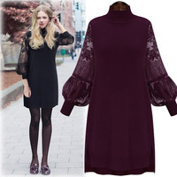 B40995A 2017 Autumn big size apparel women long sleeve lace dress