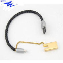Customized Real Leather Bracelet Wristband Charging Cable with Chain for Phone