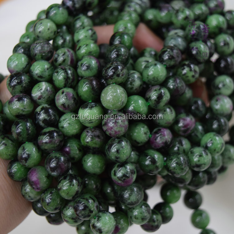 12mm round natural ruby fuchsite beads gemstone wholesale china
