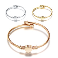 Most Popular Stainless Steel Jewelry Three Colors Heart Shape Charm Bracelet Bangle for Women
