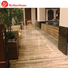 vein cut beige wooden travertine tiles ,polished gold vein wall tile