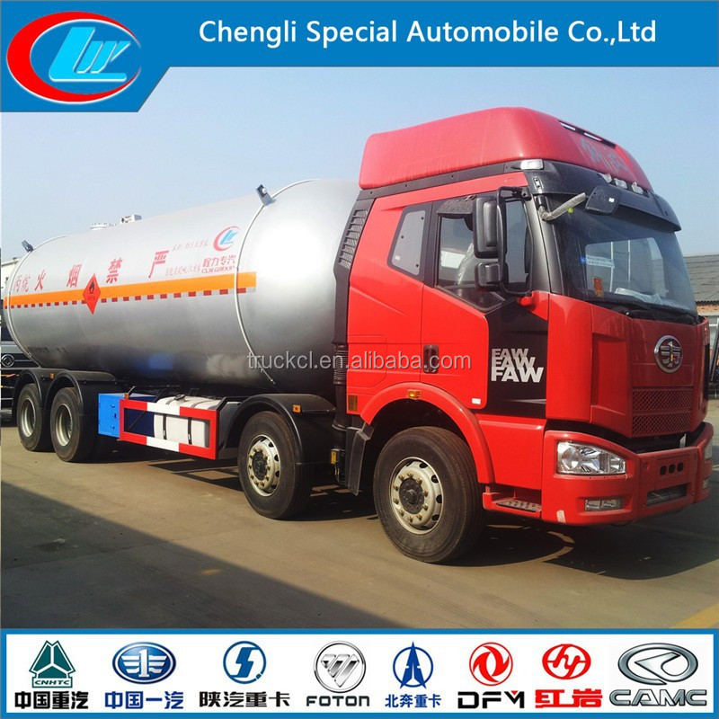 TOP Safety Special Vehicle 8X4 55cbm Faw LPG tanker trucks 12 WHEELS FAW LPG trucks loading capacity