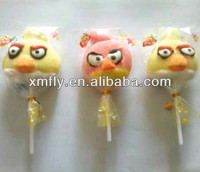 soft angry small bird and animal shape sweet fruity bulk halal stick cotton lollipop candy
