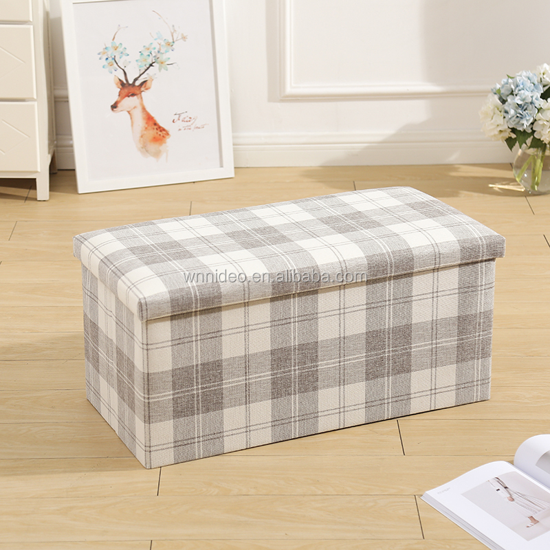 "Polyester linen fabric storage ottoman 35""x15""x15"""
