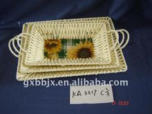 Paper rope and cloth weave iron frame rectangle opaque recyclable plates