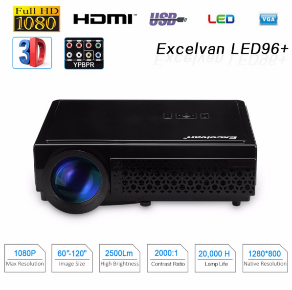 3D WIFI projector Support 1080P Home Theater dlp led projector led96+