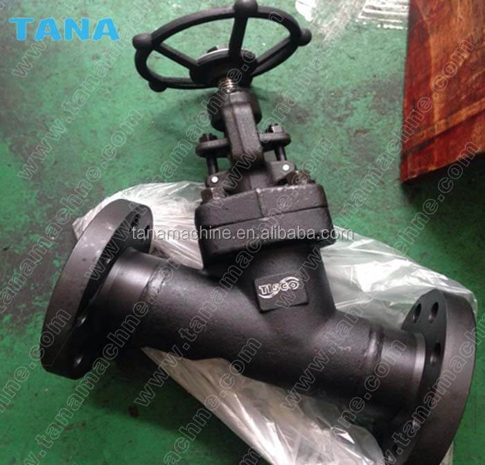 ANSI Class150 Forged steel A105 Body RF Flanged Ends Y type Globe Valve drawing