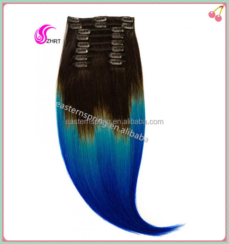 hotsell 10A Hollywood ombre color human hair clip in human hair