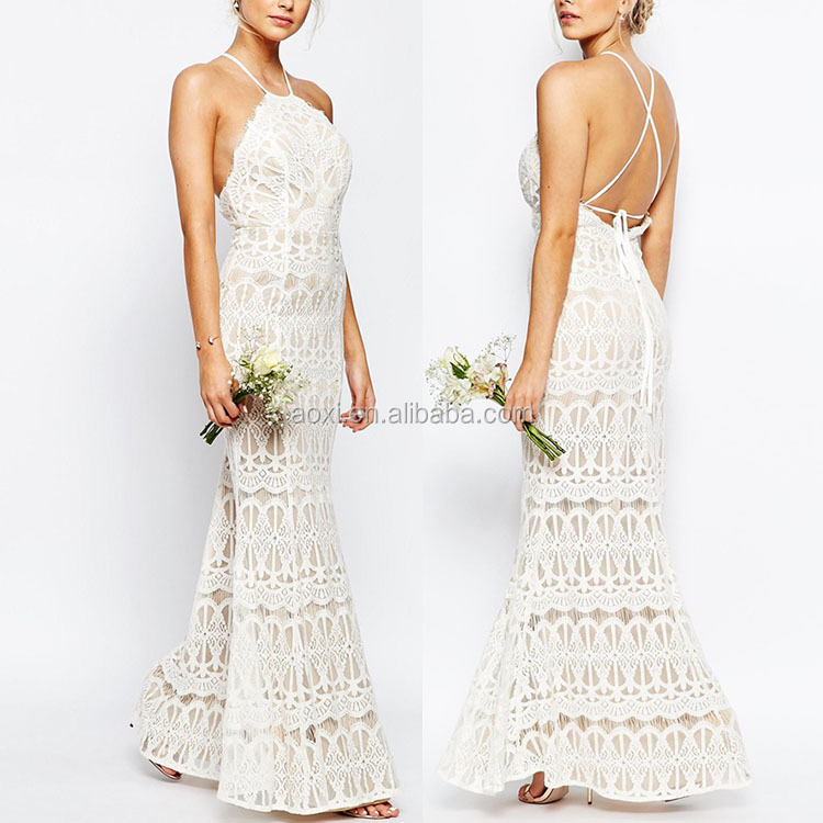 Apparel wedding dresses divine halter fitted white lace woman dress for good days