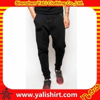 New designer cheap hip hop black drawstring soft 100%cotton drop crotch zipper pocket quilted wholesale blank jogger pants