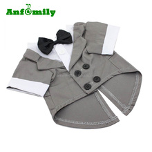 Puppy Pet Small Dog Clothes Stylish Suit Bow Tie Costume Wedding Shirt