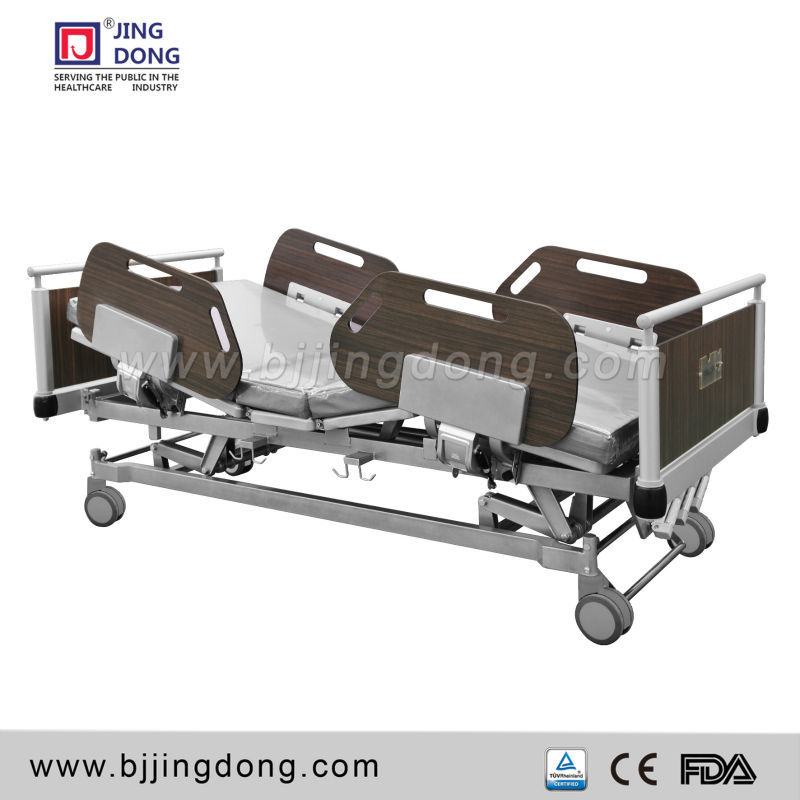 Top quality wooden style Medical 3 crank manual Bed